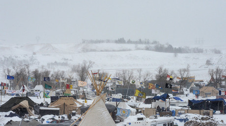 The Oceti Sakowin camp is seen in a snow storm during a protest against plans to pass the Dakota Access pipeline near the Standing Rock Indian Reservation, near Cannon Ball, North Dakota, U.S. November 29, 2016. © Stephanie Keith