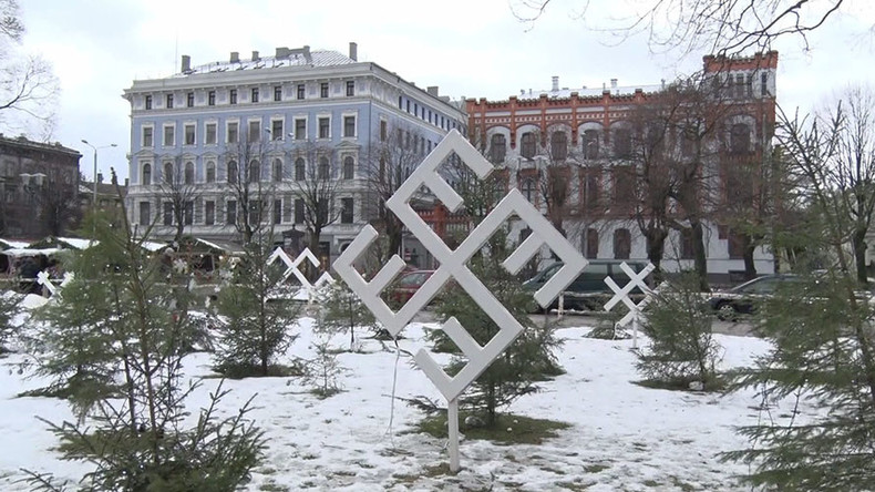 Swastika-looking snowflakes pop up at Latvian Christmas market