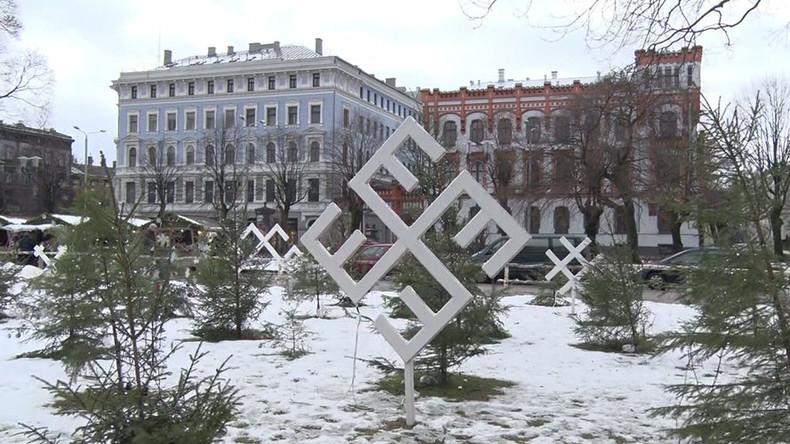 Swastika-looking snowflakes pop up at Latvian Christmas market