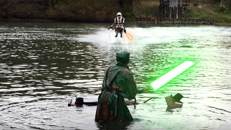 Star Wars fans create amazing 'Speeder Bike' jetpack battle (VIDEOS)