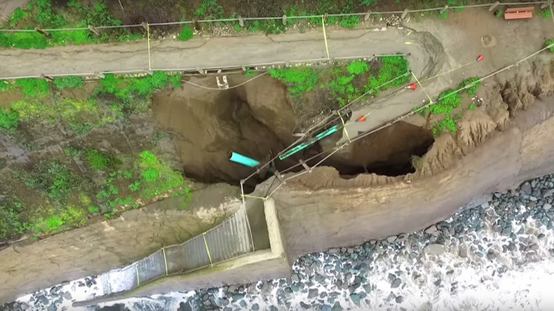 Amazing drone footage shows sinkhole damage to California coast (VIDEO)