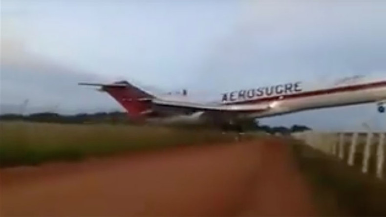 Cargo plane overshoots runway, crashes at takeoff in Colombia (VIDEOS)