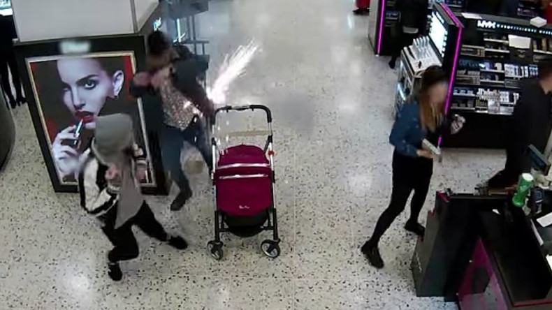 E-cigarette explodes in man's pocket near pram, dramatic CCTV footage shows (VIDEO)