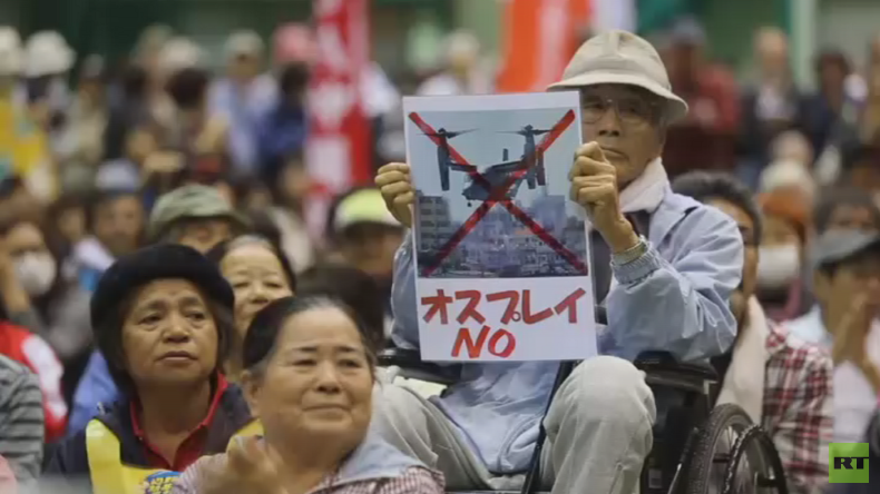 'No Ospreys in our skies!' Okinawa governor leads mass protest against US military bases (VIDEO)