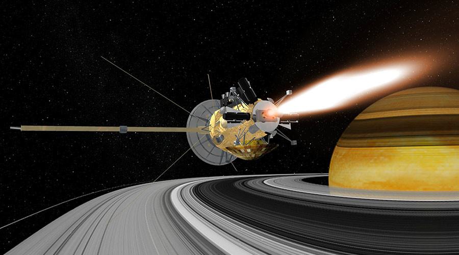 NASA's Cassini makes first plunge to orbit Saturn's rings