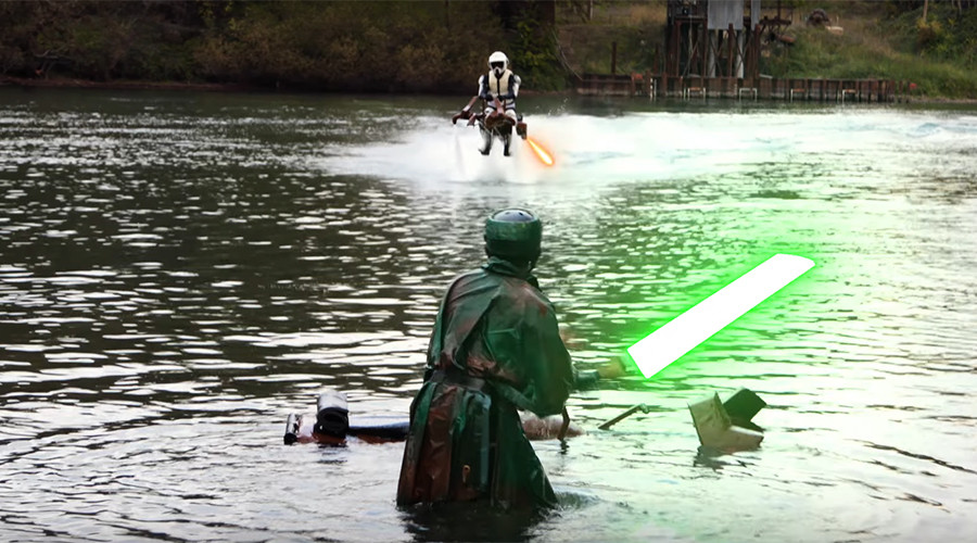 Star Wars fans create amazing 'Speeder Bike' jetpack battle (VIDEOS)