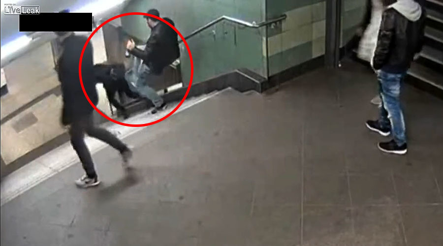 Police arrest Berlin metro attacker who kicked woman down stairs in random act of violence (VIDEO)