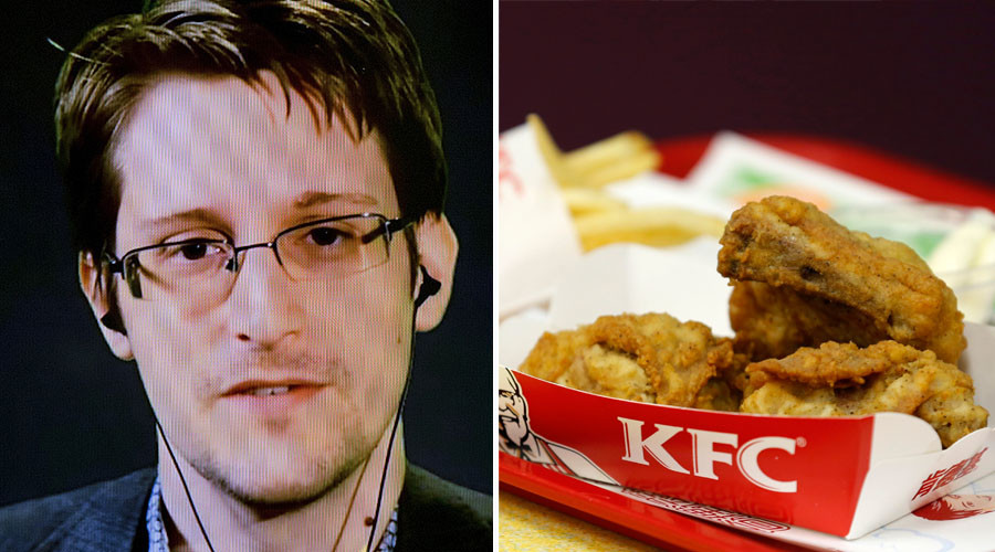 'Some kind of signal to the Russians?' Snowden's KFC tweet confuses internet