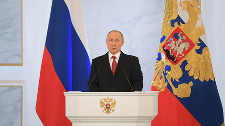 December 1, 2016. Russian President Vladimir Putin delivers his Annual Presidential Address to the Federal Assembly at the Kremlin's St. George Hall. ©Grigoriy Sisoev