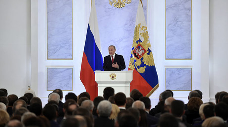 Russian President Vladimir Putin addresses the Federal Assembly of both houses of parliament at the Kremlin in Moscow on December 1, 2016. © Natalia Kolesnikova