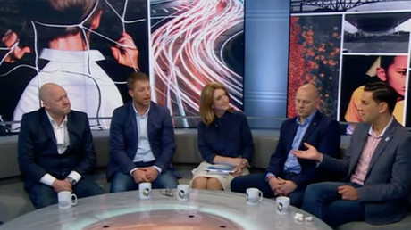 Former professional players, including Andy Woodward (far right) and Steve Walters (second left) talk about their abuse at the hands of paedophile former coach Barry Bennell on English television.