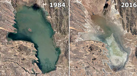 Lake Poopó in Bolivia has undergone a massive change since 1984, disappearing almost entirely from the map by 2016 © earthengine.google.com