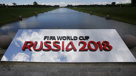 The 2018 World Cup logo is pictured near the Konstantin (Konstantinovsky) Palace, the venue of the preliminary draw for the 2018 World Cup, in St. Petersburg. © Maxim Shemetov