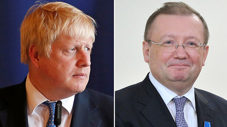 Boris Johnson and Russian ambassador to UK Alexander Yakovenko © Reuters