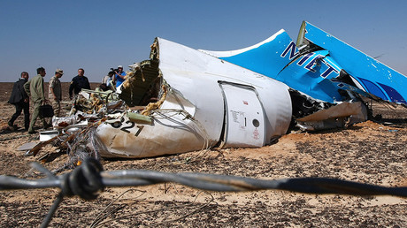 Russian EMERCOM head Vladimir Puchkov, background fourth left, examines the fragments of the Airbus A321 that was carrying out Kogalymavia Flight 9268 from Sharm el-Sheikh to St. Petersburg, on the crash site 100 km south of El Arish in the northern Sinai Peninsula October 2015 © Sputnik