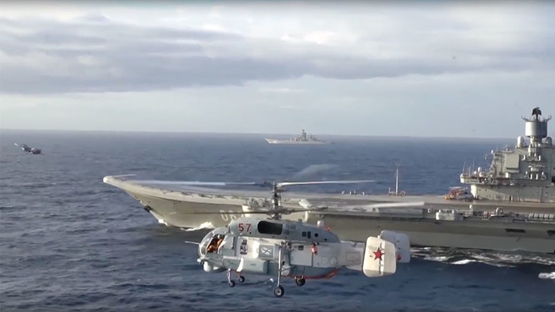 Russian MoD releases video of its naval battle group in action near Syria