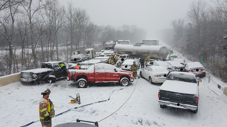Major pile-up Connecticut: Dozens of vehicles, tanker involved in winter storm crashes (PHOTOS)