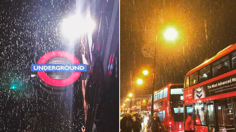 Slush Hour: London commuters hope capital survives light snow dusting (PHOTOS, VIDEOS)
