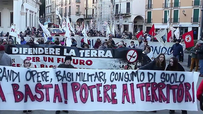 'Stop global war': Hundreds protest against US military base in northern Italy
