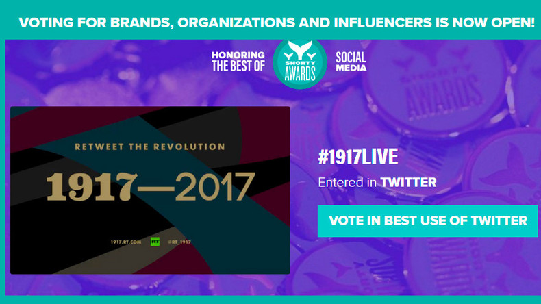 Vote now! Help RT win Audience Honor at prestigious Shorty social media awards
