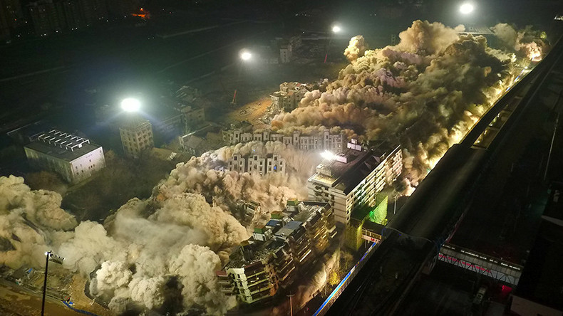 19 buildings, 10 sec, & 5 tons of TNT: Epic demolition in central China (VIDEO)