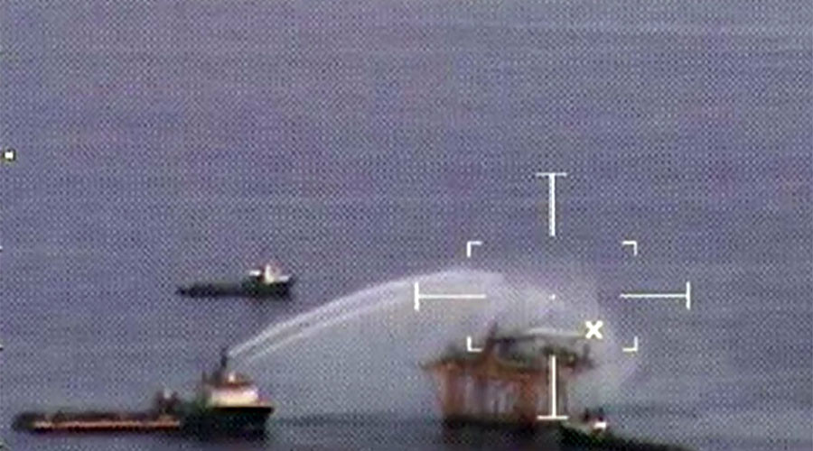 Oil rig fire in Gulf of Mexico extinguished, no pollution reported (VIDEO)