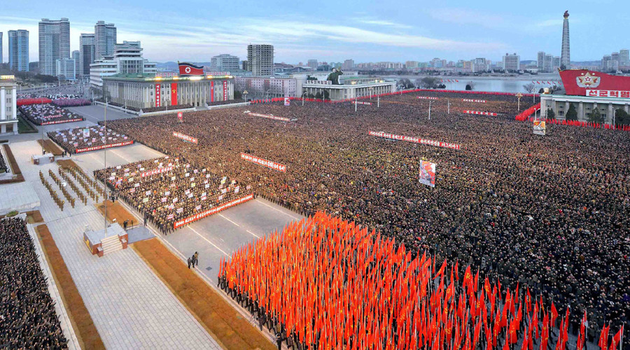 N. Korea holds mass rally after Kim Jong-un's New Year's 'nuke' message (PHOTOS)