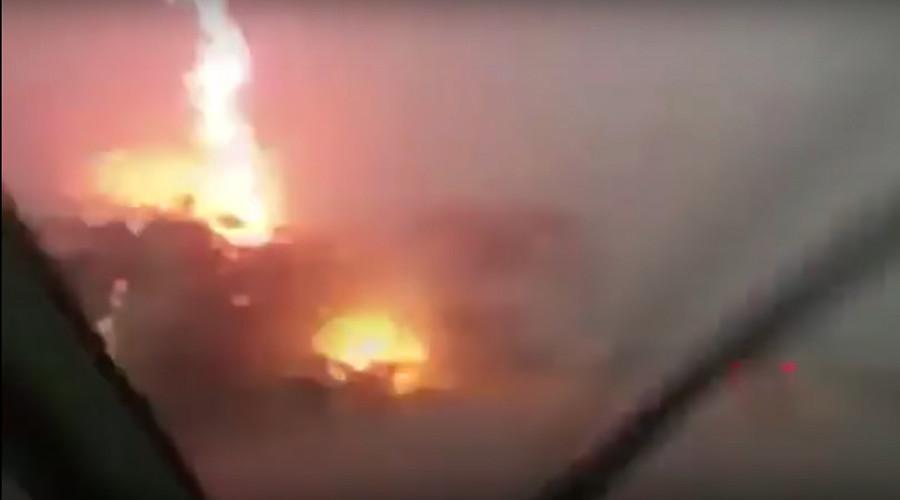 Extraordinary dashcam video captures lightning blasting truck (VIDEO)