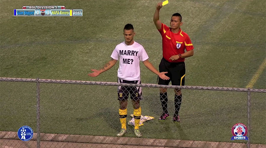 No love lost: Referee cautions Guam footballer for marriage proposal celebration