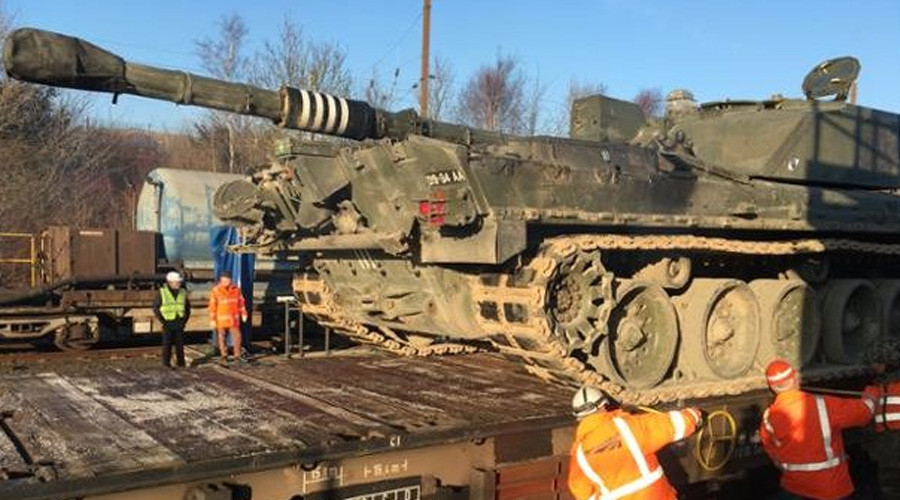 British tanks sent through Channel Tunnel to prepare for war