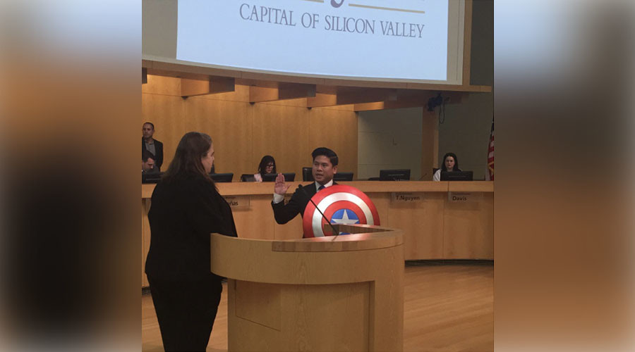 Captain America, oh yeah! Councilman holds superhero shield for swearing-in ceremony (VIDEO)