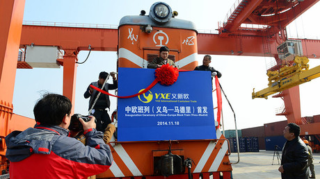 The inauguration ceremony of China-Europe Block Train (Yiwu-Madrid) at Yiwu Railway Freight Station on November 18, 2014 in Jinhua, Zhejiang province of China. © Tom And Steve / Getty Images