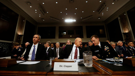 Lettre, Clapper and Rogers testify before a Senate Armed Services Committee hearing on foreign cyber threats, on Capitol Hill in Washington, DC.  January 5, 2017. © Jonathan Ernst