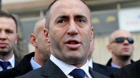 This file photo taken on November 30, 2012 shows Kosovo former Prime Minister Ramush Haradinaj talking to the media. © Armend Nimani