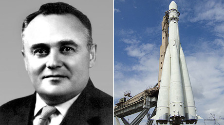 "Soviet rocket engineer and spacecraft designer Sergey kotolev (L), The ""Semyorka"" - the Rocket R7 by Sergei Korolyov in VDNH, Ostankino, Moscow. © Wikipedia"