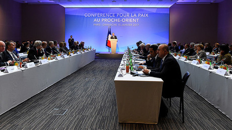 French President Francois Hollande delivers a speech at the Mideast peace conference in Paris, France, January 15, 2017. © Bertrand Guay