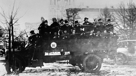A squad of armed Red Army guards on a truck, October Revolution ©