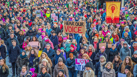 Protesters gather for the Women's March in Oslo, Norway, January 21, 2017. © NTB Scanpix / Stian Lysberg Solum via Reuters