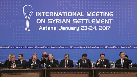 Participants of Syria peace talks attend a meeting in Astana, Kazakhstan January 23, 2017. ©Mukhtar Kholdorbekov