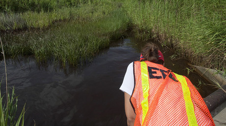 A U.S. Environmental Protection Agency (EPA) worker looks at oil from the Deepwater Horizon spill which seeped into a marsh in Waveland, Mississippi. © Lee Celano