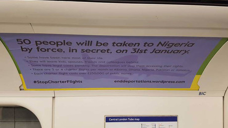 Guerilla ads protesting mass deportations invade London tube