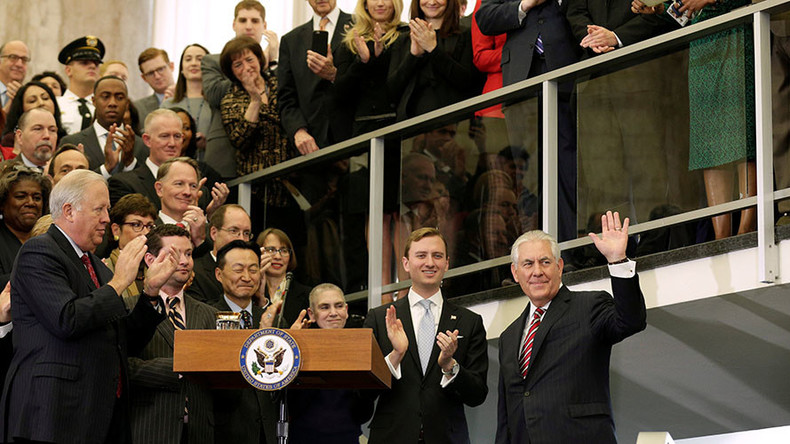 'People had to pray a bit longer': Tillerson jokes after late arrival for State Dept speech