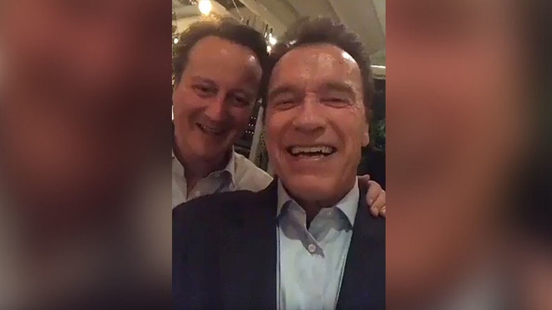 Cringeworthy Cameron:  Ex-PM shoots toe-curling Snapchat video with Arnold Schwarzenegger (VIDEO)
