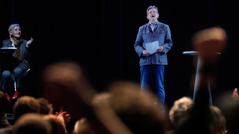 French leftist Mélenchon launches presidential campaign with hologram (VIDEO)