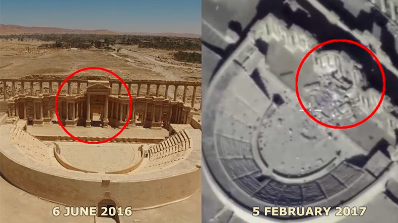 Russian MoD releases drone footage of Roman theater in Palmyra blown up by ISIS (VIDEO)