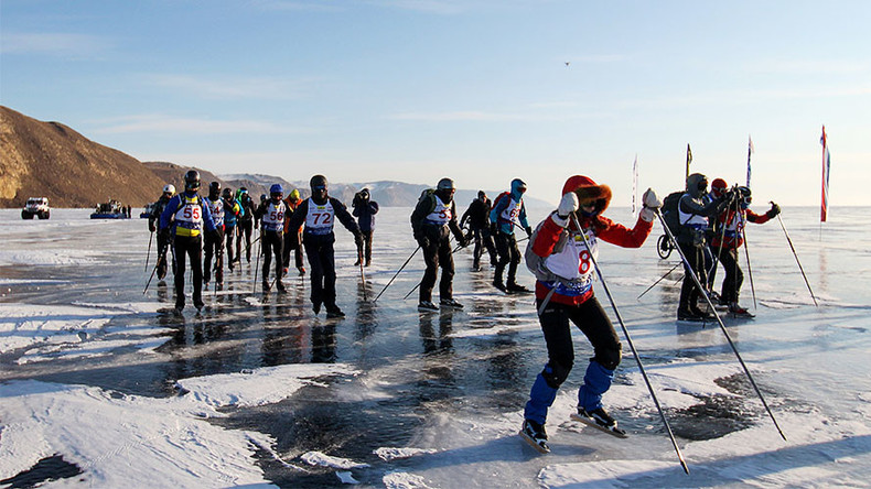 Extreme ice skating & cycling race on world's deepest lake (VIDEO, PHOTOS)