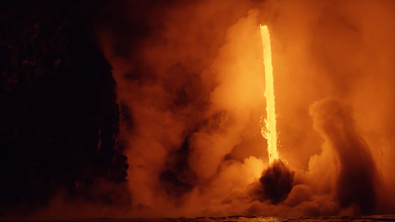 Hawaii volcano 'fire hose' creates stunning clash between fire & sea (VIDEOS)