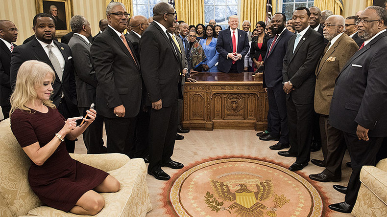 Kellyanne Conway trolled mercilessly for 'couchgate' photo in Oval Office