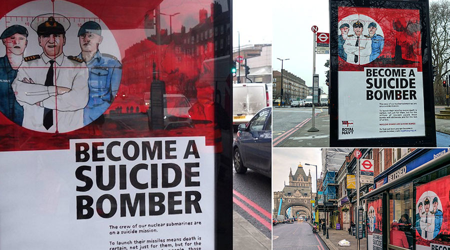 'Become a suicide bomber!': Trident whistleblower says artist's spoof Navy ads are accurate