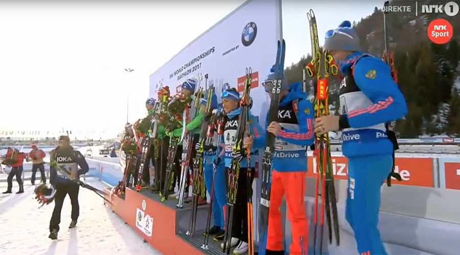 Biathlete Fourcade storms off world championships podium after Russia handshake snub
